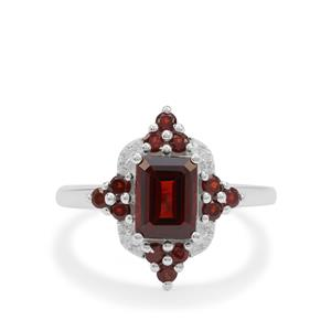 Rajasthan Garnet Ring with White Zircon in Sterling Silver 2.75cts