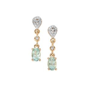 Aquaiba Beryl Earrings with Diamond in 9k Gold 0.90ct