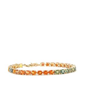 Rainbow Sapphire Bracelet in 10K Gold 15.37cts