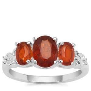 Loliondo Orange Kyanite Ring with White Zircon in Sterling Silver 2.76cts