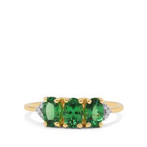 Tsavorite Garnet Ring with Diamond in 9K Gold 1.45cts