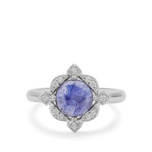 Rose Cut Sapphire Ring with White Zircon in Sterling Silver 2.44cts