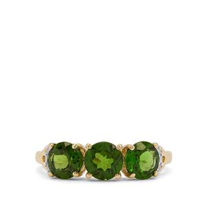 Chrome Diopside Ring with Diamond in 9K Gold 2.15cts