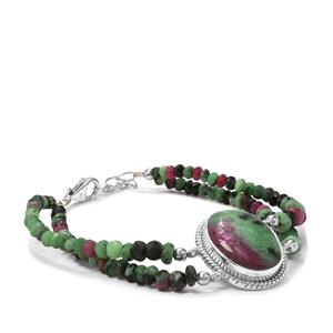 Ruby-Zoisite Bracelet in Sterling Silver 53.60cts