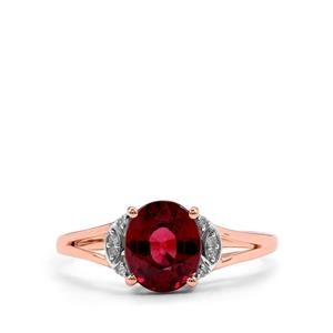 Malawi Garnet Ring with Diamond in 10k Rose Gold 2.07cts