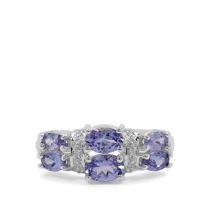 Tanzanite & Diamond Sterling Silver Ring ATGW 1.88cts