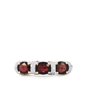 Natural Burmese Spinel Ring with Diamond in 10k Gold 3cts