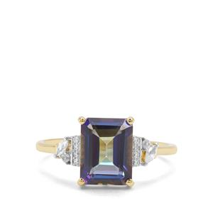 Mystic Topaz Blue & White Zircon 9K Gold Ring ATGW 3.03cts