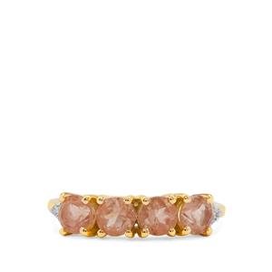 Padparadscha Oregon Sunstone Ring with White Diamond in 9K Gold 1.40cts