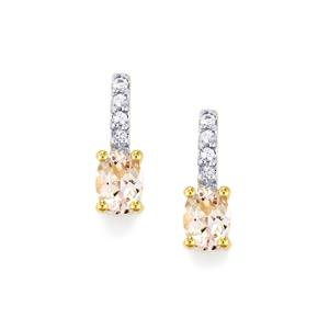 Imperial Pink Topaz & Ceylon White Sapphire 10K Gold Earrings ATGW 1.95cts