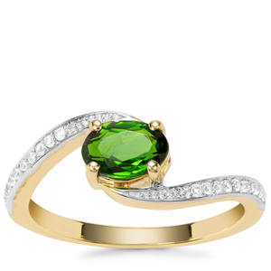Chrome Diopside Ring with White Zircon in 9K Gold 0.97ct