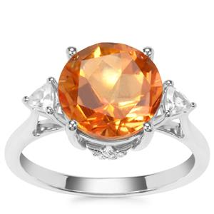 Lone Star Padparadscha Quartz Ring with White Zircon in Sterling Silver 4.25cts