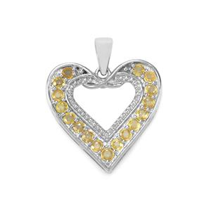Songea Yellow Sapphire Pendant in Sterling Silver 1.45cts
