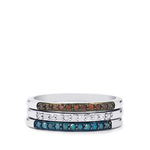 Cognac, Blue & White Diamond Set of 3 Stacker Rings in Sterling Silver 0.35ct
