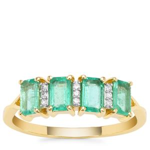 Ethiopian Emerald Ring with Diamond in 9K Gold 1.03cts