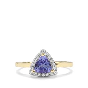 AA Tanzanite & White Zircon 9K Gold Ring ATGW 0.86cts