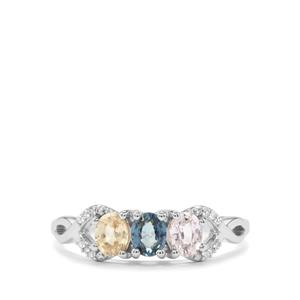 Natural Sakaraha Rainbow Sapphire Ring with Diamond in 10K White Gold 0.90ct