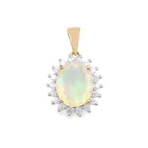 Ethiopian Opal Pendant with White Zircon in 10K Gold 3.40cts