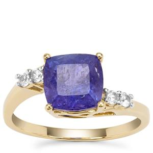 Tanzanite Ring with White Zircon in 9K Gold 2.88cts