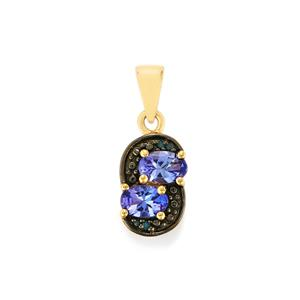 AA Tanzanite & Blue Diamond 10K Gold Pendant ATGW 0.91cts