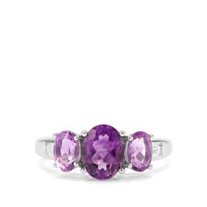 Moroccan Amethyst & White Zircon Sterling Silver Ring ATGW 2.28cts