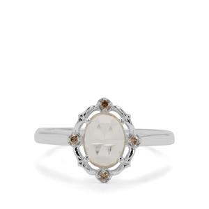 Rose Cut Plush Diamond Sunstone Ring with Champagne Diamond in Sterling Silver 1cts