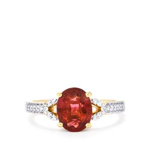 Nigerian Rubellite Ring with White Diamond in 18k Gold 1.78cts