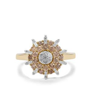 1.07ct Champagne & White Diamond 9K Gold Ring