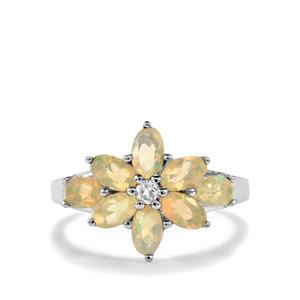 Ethiopian Opal Ring with White Topaz in Sterling Silver 1.40cts