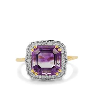 Asscher Cut Moroccan Amethyst Ring with White Zircon in 9K Gold 4.35cts