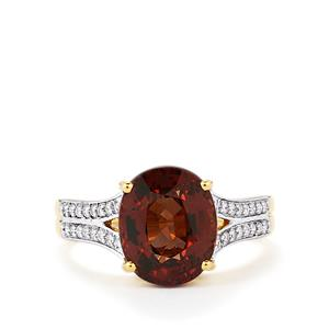 Color Change Garnet Ring with Diamond in 18k Gold 5.36cts