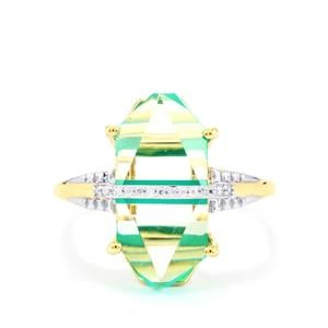 Lehrer Cosmic Obelisk Green Onyx, Optic Quartz Ring with Diamond in 10K Gold 6.53cts