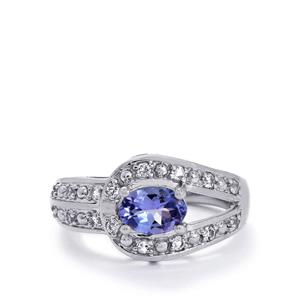 AA I1 Tanzanite & White Topaz Sterling Silver Ring ATGW 1.14cts
