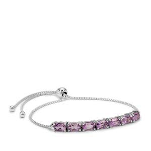 Rose De France Amethyst Slider Bracelet in Sterling Silver 3.15cts