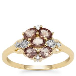 Bekily Colour Change Garnet Ring with White Zircon in 9K Gold 1.58cts