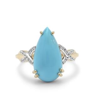 Sleeping Beauty Turquoise Ring with White Zircon in 9K Gold 5.15cts