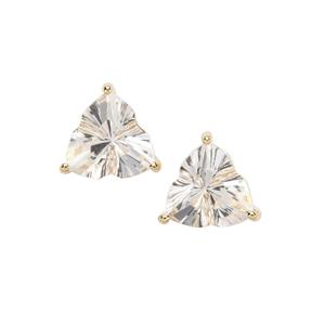 Lehrer Infinity Cut Optic Quartz Earrings in 10K Gold 3.22cts