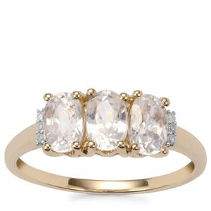 Ratanakiri Zircon Ring with Diamond in 10k Gold 2.60cts