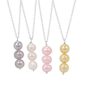 Kaori Cultured Pearl Sterling Silver Set of 4 Pendant Necklace