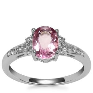 Natural Pink Fluorite Ring with White Topaz in Sterling Silver 1.59cts