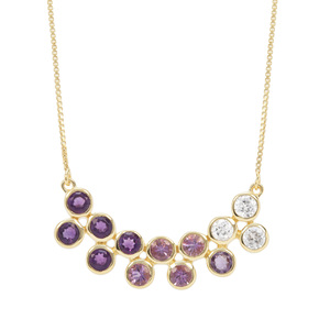 Zambian, Rose De France Amethyst & White Zircon Midas Necklace ATGW 4.02cts