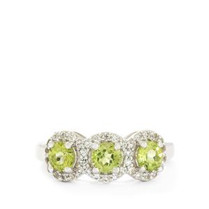 Changbai Peridot & White Topaz Sterling Silver Ring ATGW 1.58cts