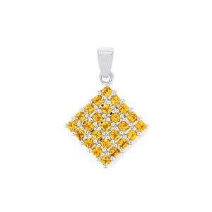 Yellow Tourmaline Pendant in Sterling Silver 1.13cts