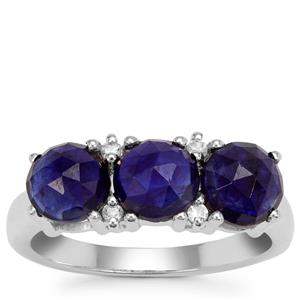 Rose Cut Blue Sapphire Ring with White Zircon in Sterling Silver 3.33cts
