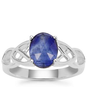 Rose Cut Blue Sapphire Ring in Sterling Silver 1.92cts