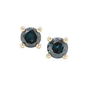 Blue Diamond Earrings in 9K Gold 1ct