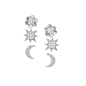 Diamond Set of 3 Earrings in Sterling Silver 0.34ct