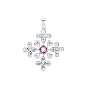 Rainbow Moonstone Pendant with Burmese Ruby in Sterling Silver 5.30cts