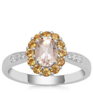 Champagne Danburite, Diamantina Citrine Ring with White Zircon in Sterling Silver 1.18cts