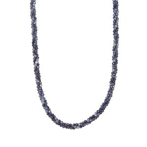 53.90ct Blue Sapphire Sterling Silver Twisted 3 Row Bead Necklace